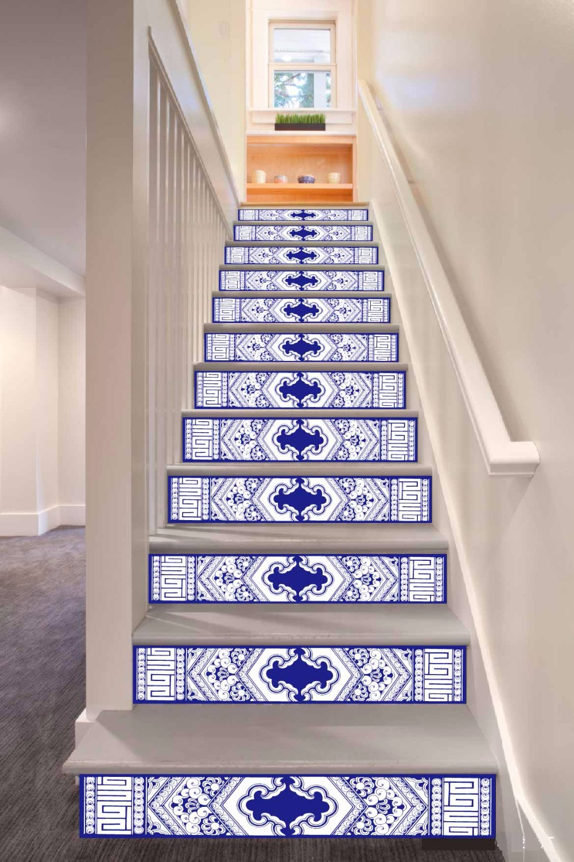 6pcs/set 18cm X 100cm Dark Blue Chinese Retro Pattern Style Stair Sticker Wallpaper LTT003