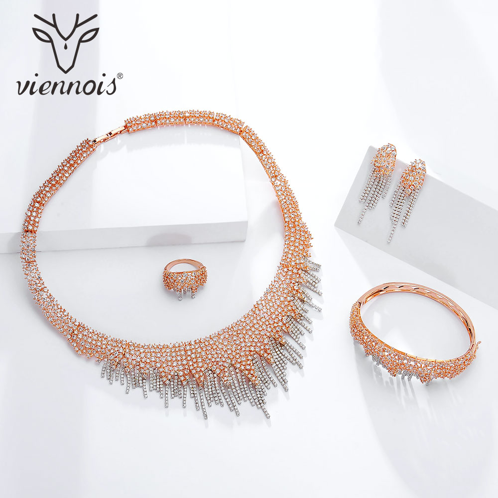 Viennois Gold / Red / Rose Gold Color Necklace Set For Women Rhinestone Dangle Earrings Ring Bracelet Set Party Jewelry Set 2019