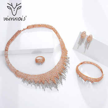 Viennois Gold / Red / Rose Gold Color Necklace Set For Women Rhinestone Dangle Earrings Ring Bracelet Set Party Jewelry Set 2019 - DISCOUNT ITEM  30% OFF All Category