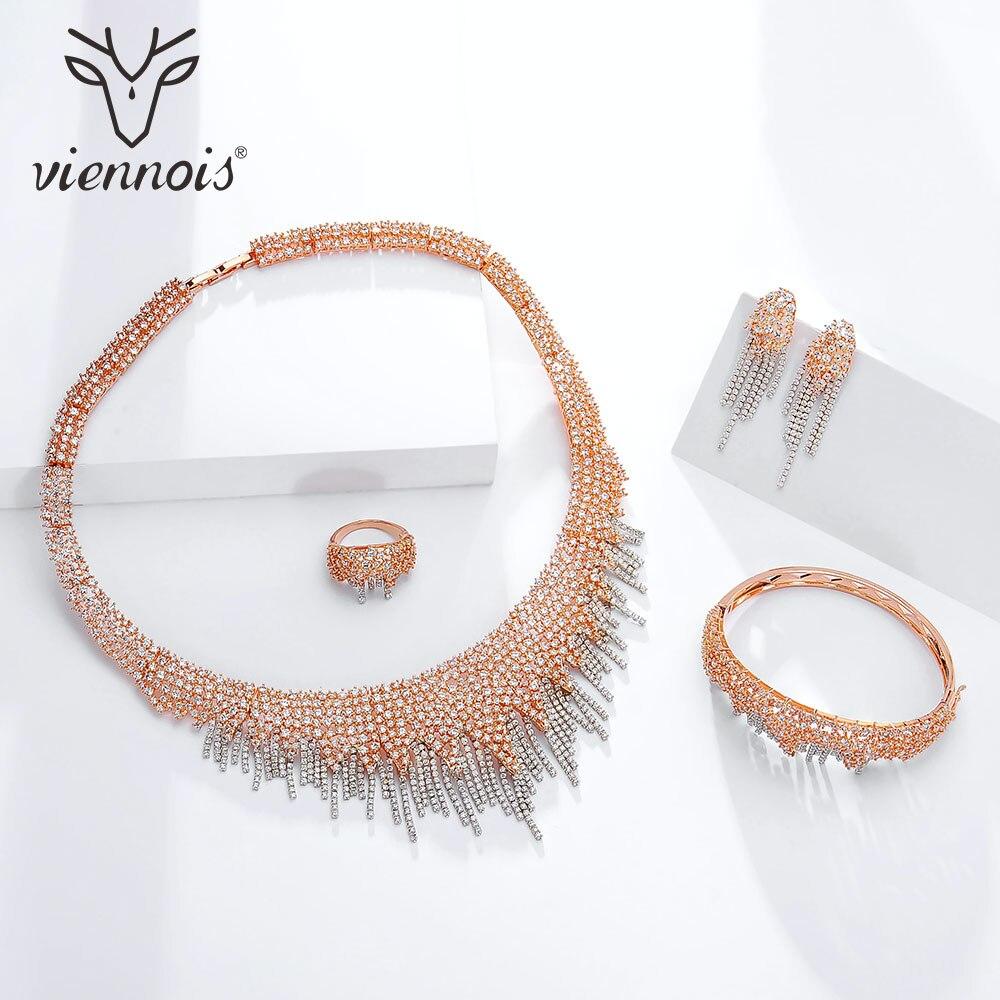 Viennois or/rouge/or Rose couleur collier ensemble pour femmes strass Dangle boucles d'oreilles anneau Bracelet ensemble fête bijoux ensemble 2019