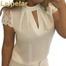 Laipelar Elegant chiffon feminine blouse women Splice lace turtleneck summer white Casual short sleeve shirt
