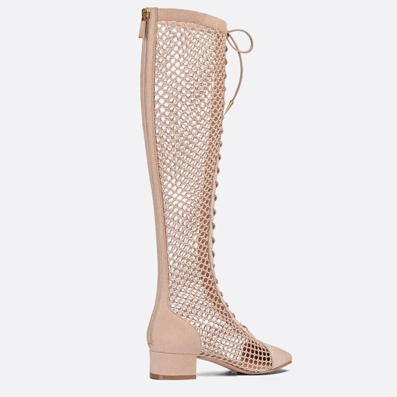 새로운 도착 2019 메쉬 크로스 묶인 여름 부츠 뒤 지퍼 메쉬 botas mujer 여성을 통해 볼 레이스 신발 브랜드 디자인 신발-에서무릎 - 하이 부츠부터 신발 의  그룹 3