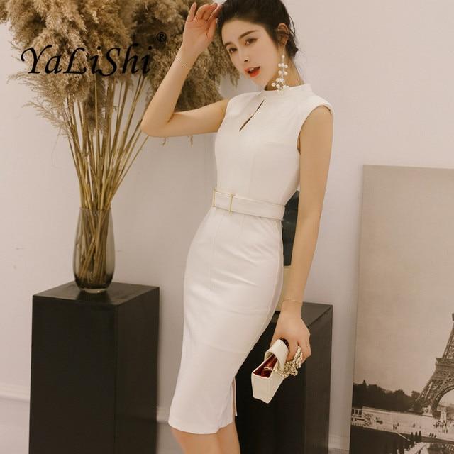 c86678fcff Sólidos Novas Mulheres Lápis Escritório Vestido Sem Mangas Verão O-pescoço  Senhora Elegante Bodycon Vestido