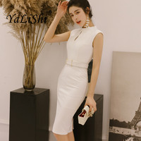 Solid New Women Office Pencil Dress Summer Sleeveless O Neck Elegant Lady Bodycon Dress Vintage Hollow Out Party Dresses Vestios