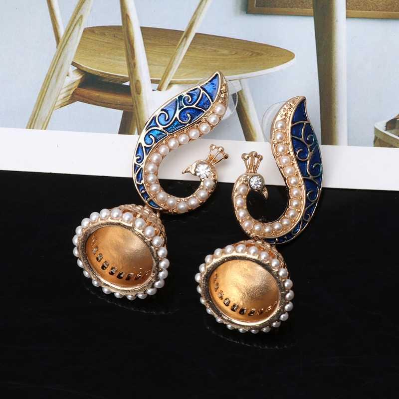 Moda Retro indyjski bollywood Kundan Peacock Jhumka Jhumki Drop kolczyki Gypsy biżuteria akcesoria do biżuterii