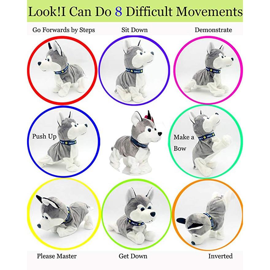 Interactive Robot Dog Bark SitDown Electronic Walking Pet Dog Husky Sound Control Dog Plush Stuffed Toy Child Kids Gifts Toddler happy child girl toys electric toy plush pet dog cute and funny simulation dog