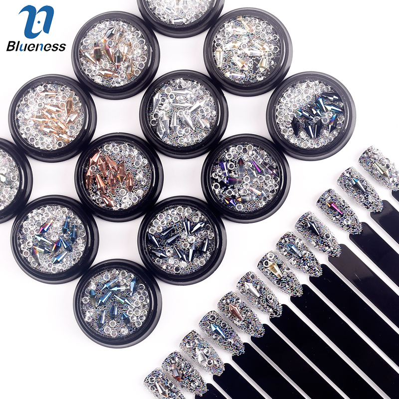 1Box 3D Charms Nail Art Decorations Supplies Rhinestones Awl Design Caviar Crystal Manicure UV Gel DIY Studs Tips BG280-BG291 3d charms glitter nail art decorations mix irregular beads rhinestones alloy studs design manicure nail gel laser paillettes