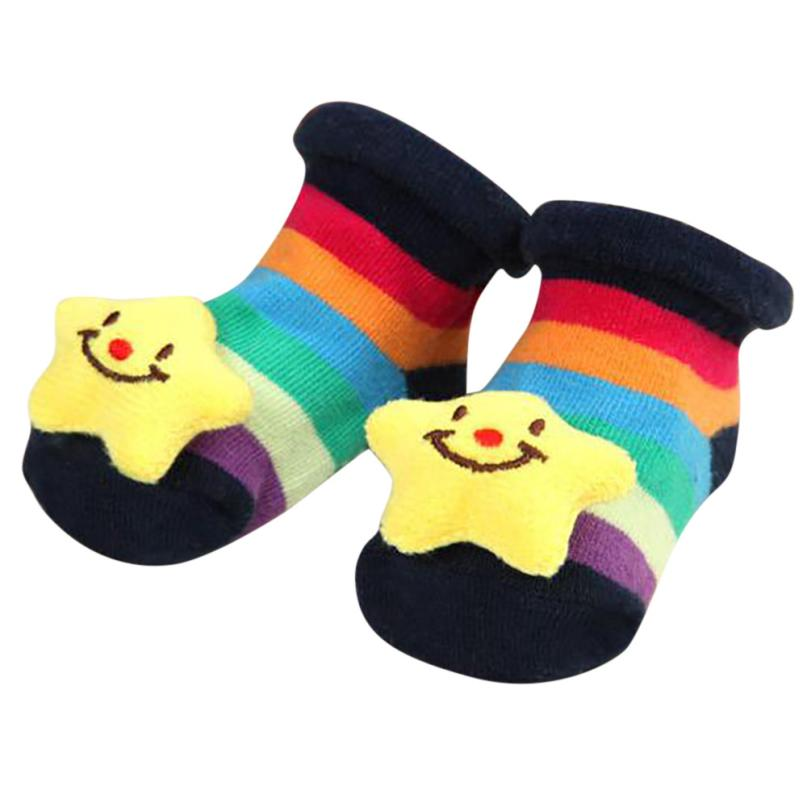 5-MB Child Children Boy Girl Kid Cartoon Newborn Baby Girls Boys Anti-Slip Socks Slipper ...