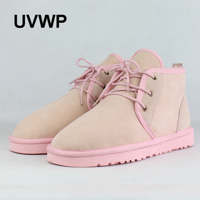 UVWP Fashion Women Snow Boots Genuine Sheepskin Leather Woman Ankle Boots 100% Natural Fur Casual Warm Shoes Women Winter Boots