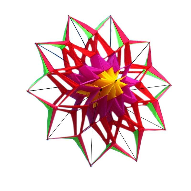 Nouveau cerf-volant fleur de Lotus 3D de haute qualité avec poignée et ligne