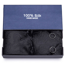 Mens Ties 40 Styles Tie Hanky Cufflink Set Business Gift For Men Black Paisley wedding party Free Shipping