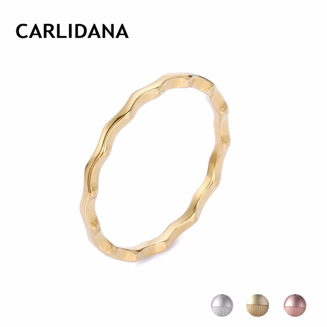 Simple Water Wave Rings For Women Stainless Steel Statement Rings Female Gifts Three Colors Classic Fashion Jewelry CARLIDANA