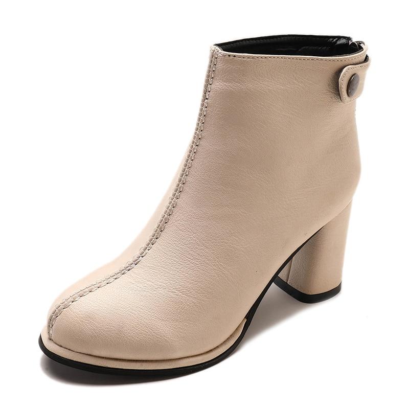 2018 Sport Buckel Beige Dames Haute Bottes brown Plate Automne forme Cheville Zipper Couture Femmes Femme De Mode Talons Chaussures Mcckle black xFvwaUTqZ