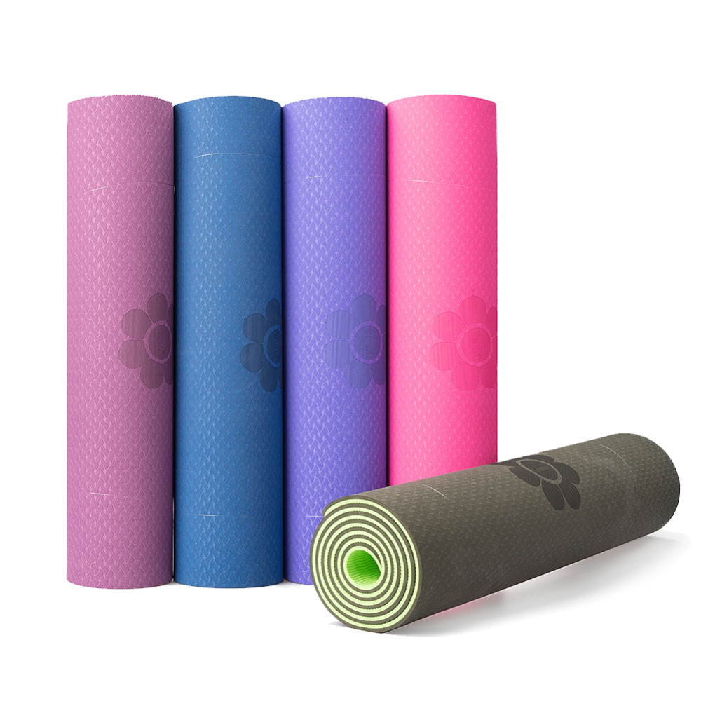 Yoga Mat Single Double Color Non-slip TPE Exercise Sport Pilates Mat For Fitness Gym Home Tasteless Pad 6mm/8mm
