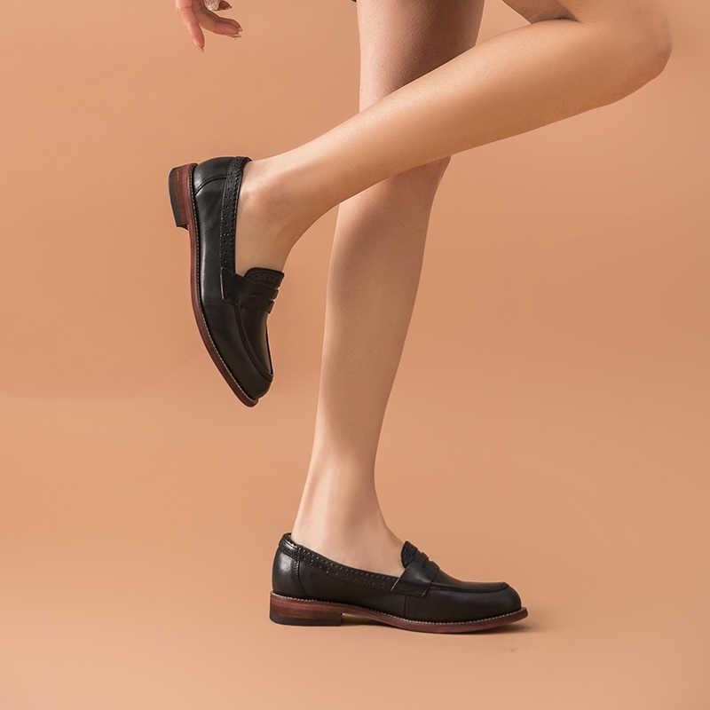 BeauToday klasik kadın Penny loafer'lar koyun derisi deri sivri burun Moccasin Flats siyah renk artı boyutu ayakkabı el yapımı 2701310