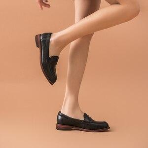 Image 3 - Beautoday Klassieke Vrouwen Penny Loafers Schapenvacht Lederen Puntschoen Moccasin Flats Zwarte Kleur Plus Size Schoenen Handgemaakte 2701310