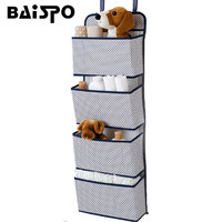 New Hanging Storage Bags 4Pockets Practical Wall Home Clothes Toys Organizer Behind Door Sundries Wardrobe Container