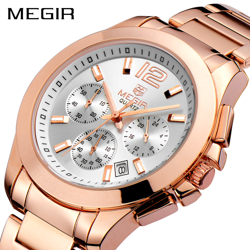 Creative MEGIR Sport Watch Men Top Brand Luxury Rose Gold Chronograph Quartz Men Military Wrist Watches Clock Relogio Masculino brand military relogio masculino shark sport watch men erkek kol saati chronograph leather band clock wrist quartz watch sh253