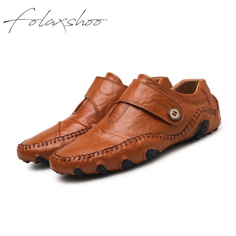 Chaussures Caoutchouc En Mocassins Casual Respirant Occasionnels Folaxshoo on Slip Cuir Glissement 47 Noir Sur Véritable Hommes Des light Brown qnznxftC