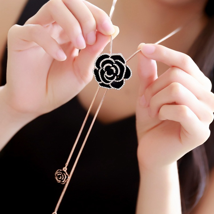 N888 Camellia Flowers Jewelry Collier Femme Sweater Chain Long Necklace 2017 New For Women все цены