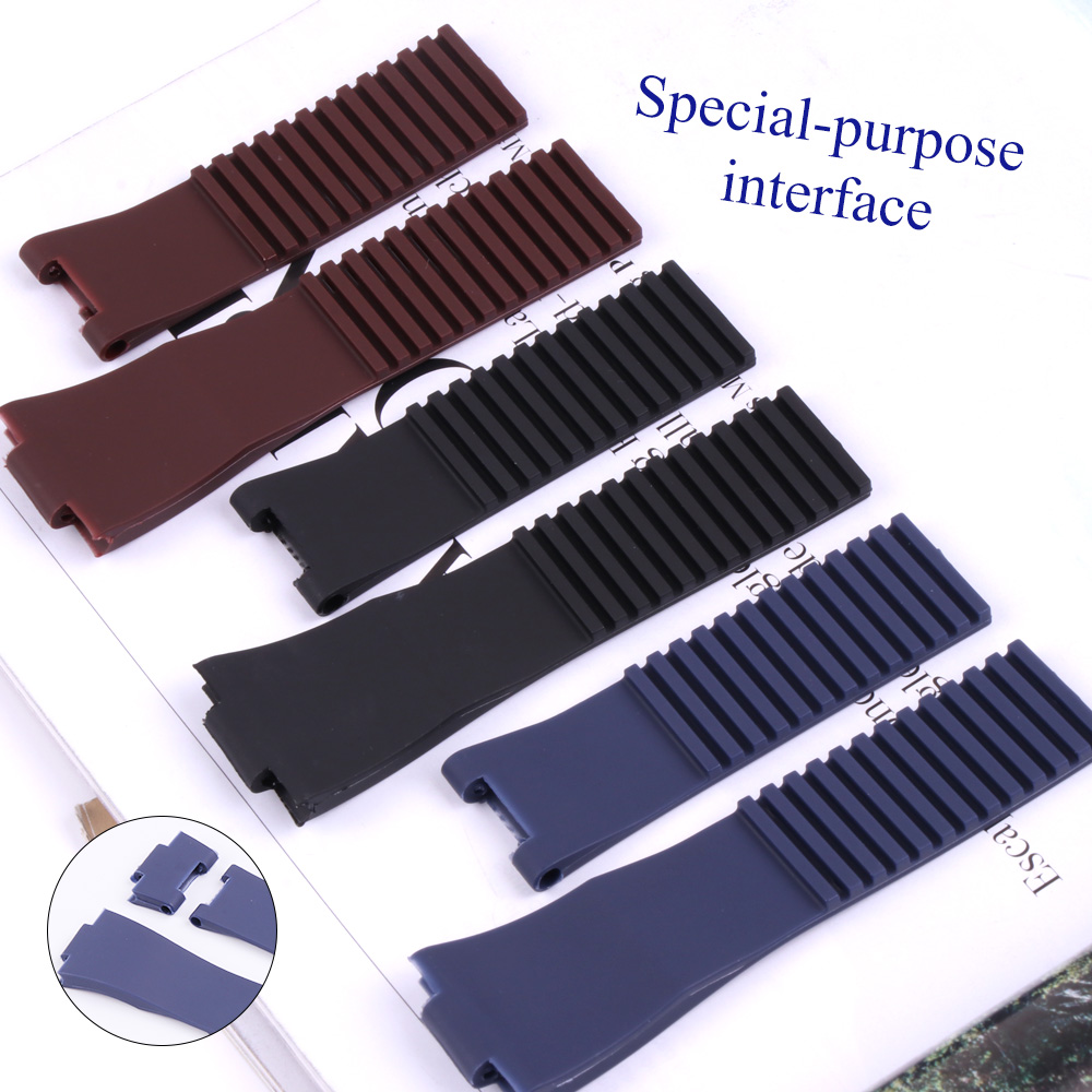 25*12mm Wholesale Black Brown Blue Waterproof Silicone Rubber Replacement Wrist Watch Band Strap Belt For Ulysse Nardin Watch