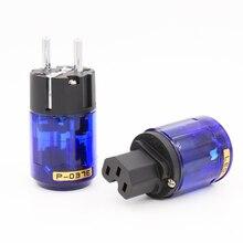 Free Shipping Pair P 037E Rhodium plated EU power connector +C 037 IEC female connector