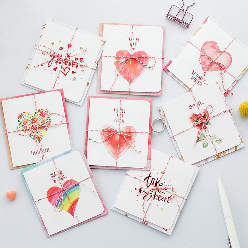 8 pcs/set Creative Eternal love card Birthday/holiday Valentine's day greeting heart design message card wedding Gift cards [epcs love] art si scott eternal love limited edition poker card collection magic deck props