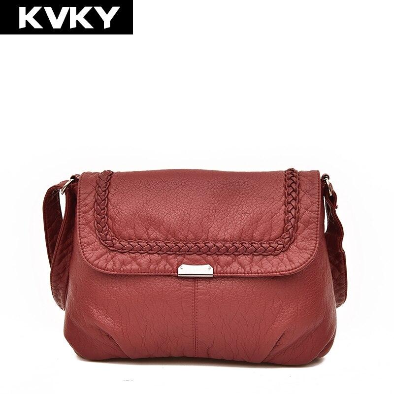 KVKY Fashion Small Women Messenger Bags High Quality Soft Leather Shoulder Bag Casual Crossbody Bag Female Handbags Bolsos Mujer