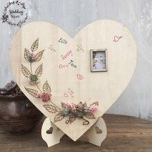 Деревянный в форме сердца Свадебный сочный кактус Wrcath индивидуальное сердце гость Книга знак книга Свадебные украшения Гостевая книга