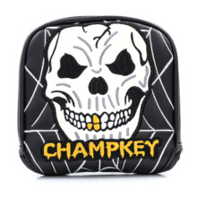 Buy Champkey Golf Mallet Headcover Putter Cover for Center-shaft Club Magnetic Closure Black White PU Leather Skull Embroidery directly from merchant!