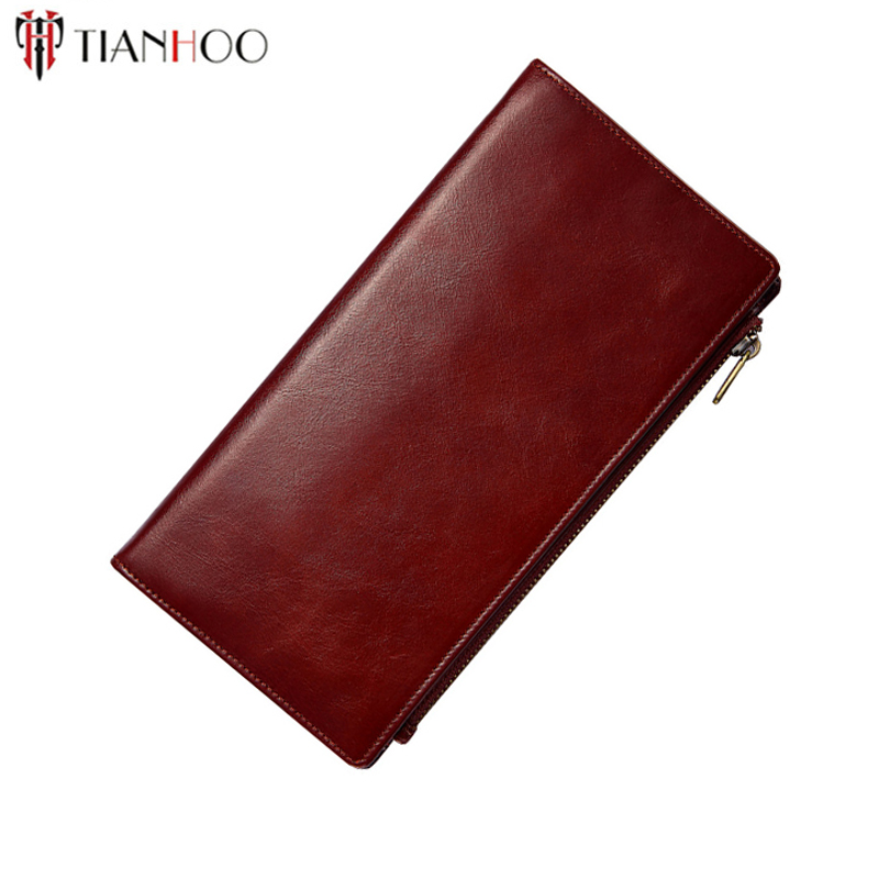 TIANHOO Thin Genuine Leather Wallet Long Purse Handbags Luxury Clutches RFID Wallet Card Holder Phone Pocket