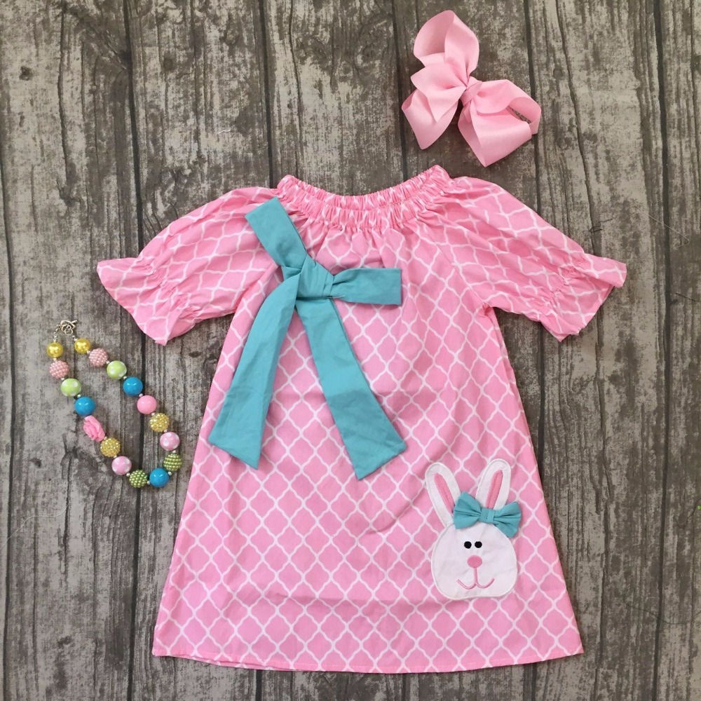 new 2018 Easter dress baby girls ruffles pink quatrefoil teal bunny woven dress kids children clothes with necklace and bows set baile pink bunny эрекционное кольцо с вибрацией
