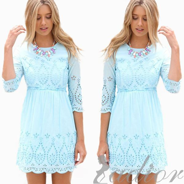957a19dfdd2 Ladior Casual Fashion Women Dress Cute Light Blue Lace Dress Half Sleeve  Hollow Out O neck Women Tops Hot New Dresses-in Dresses from Women s  Clothing on ...