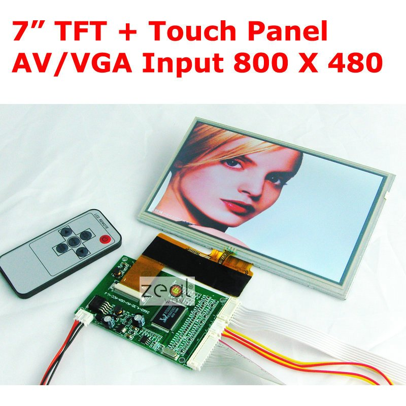 7.0 TFT LCD Module + Touch Panel VGA / Dual 2AV Input Driving Board 800 x 480 Dots 40Pins