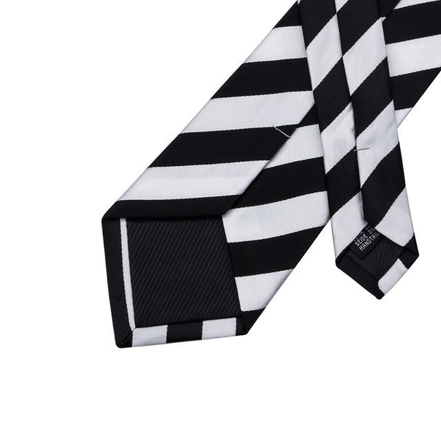 SN-276 White Black Striped Silk Tie Set Handkerchief Cufflinks Sets Men's 100% Silk Ties for Men Formal Wedding Party Groom Tie 4