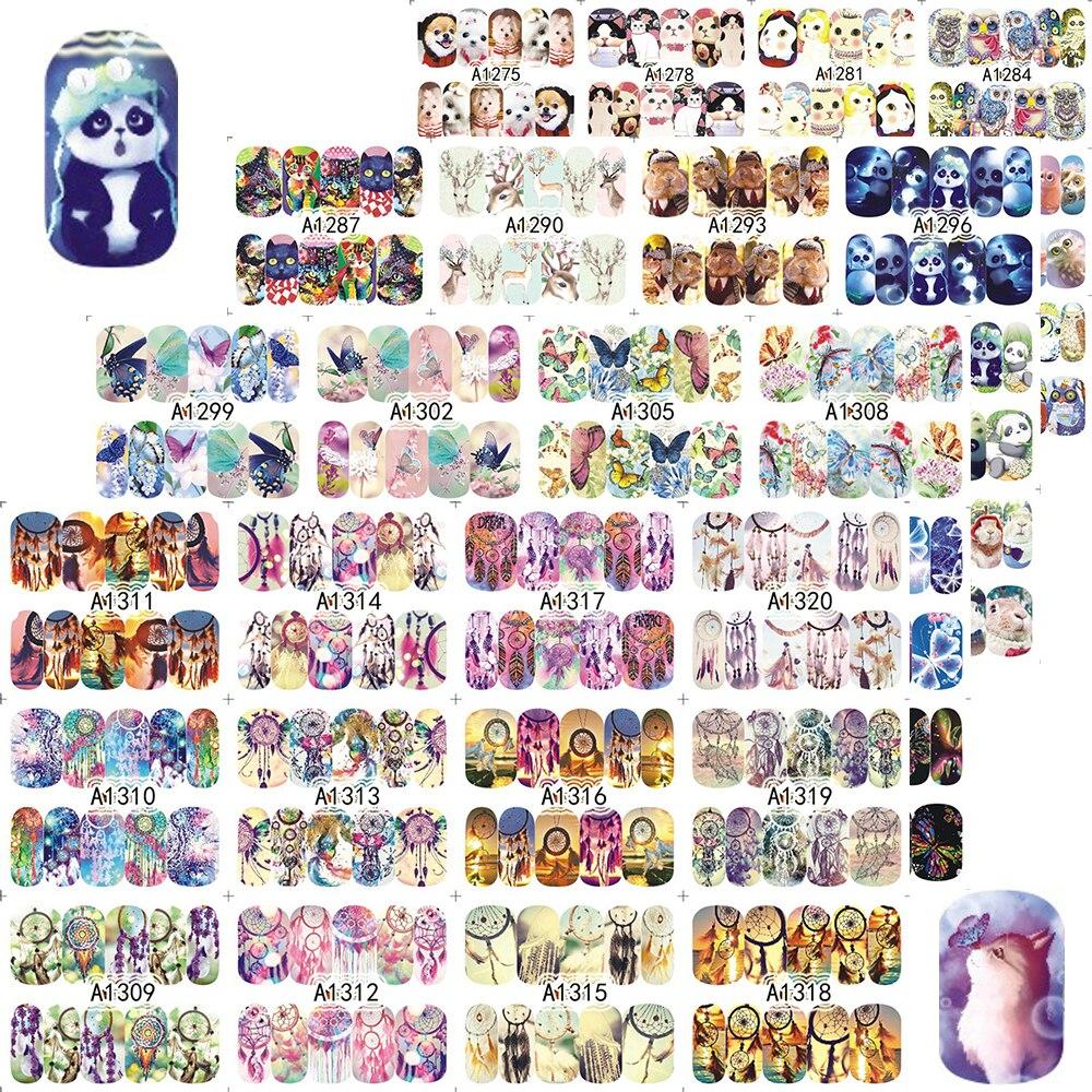 48pcs/set Cute Animal Full Wrap Nails Decals  Water Transfer Nail Art Sticker DIY Decorations Tips Slider JIA1273-1320