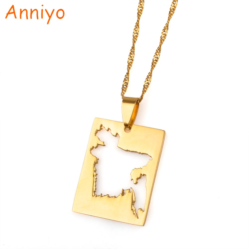 Anniyo Bengal Country Map Pendant and Thin Necklace Gold Color ...