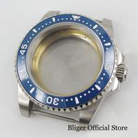 Fit ETA 2836 Automatic Movement With Blue Bezel Ring Sapphire Glass 40mm Brushed Watch Case
