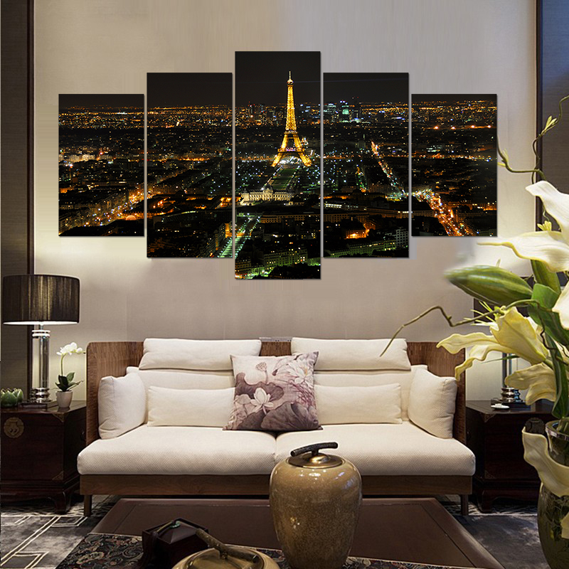 Modern home decor living room decor print night paris eiffel tower cityscape canvas wall art picture print painting pt0472 in painting calligraphy from