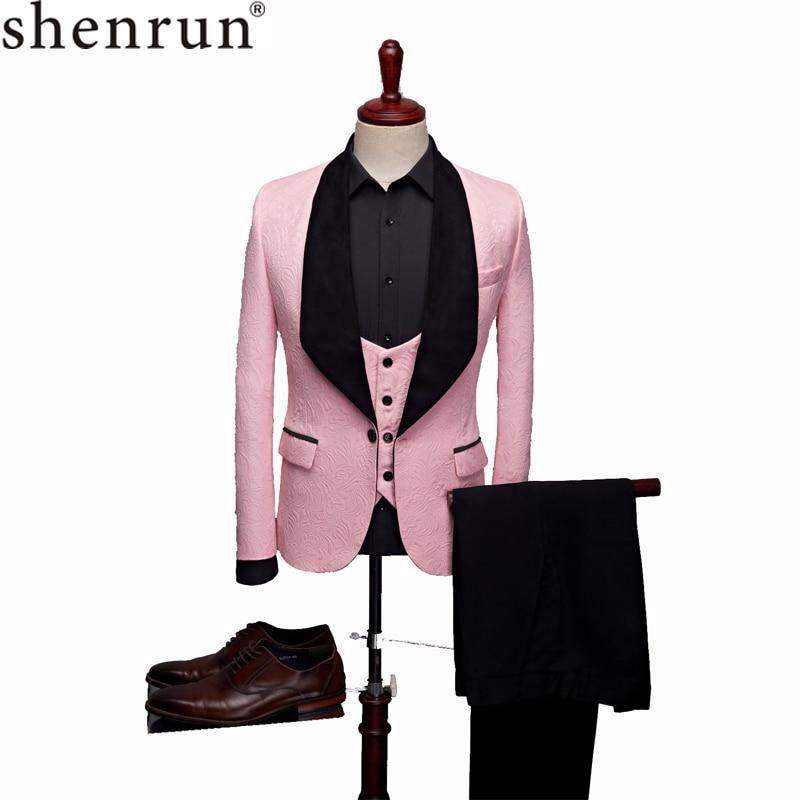 SHENRUN мужской модный большой платок с отворотом комплект из 3 предметов розовый, красный, синий, белый, черный свадебный костюм жениха качественный жаккардовый Банкетный смокинг