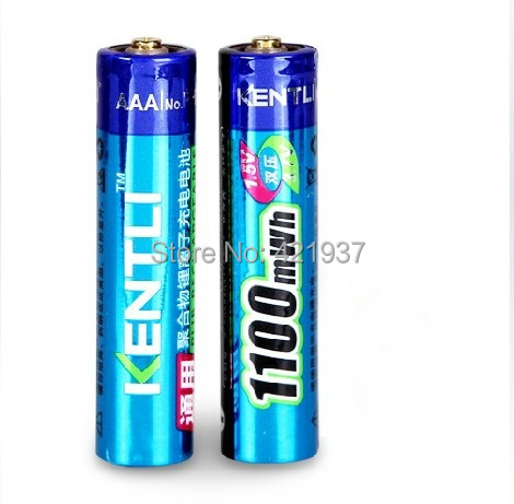 Free shipping 2pcs/lot AAA lithium Battery1.5V 1100mWh Lithium ion polymer AAA Rechargeble Battery Stable voltage AAA Battery