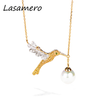 LASAMERO 18k yellow Gold Pearl 8mm Side Stone Halo 0.35 CT Round Cut Floral Hollow Filigree Pave Set Pendant Necklace