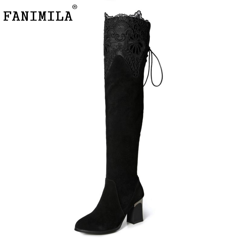 Women Genuine Real Leather Over The Knee Boots Winter Boots Sexy High Heel Classic Round Toe Zipper Women Boots Shoes Size 33-42 2017 new arrival winter plush genuine leather basic women boots knight zipper round toe low heel knee high boots zy170904