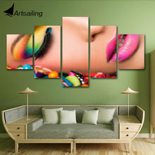 ArtSailing HD print painting Hairdressing salon pictures Manicure 5 piece canvas art framed beauty salon make up poster print(China)