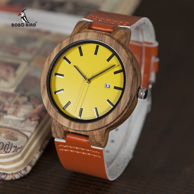 BOBO BIRD Wood Watches Timepieces for Men Women Wooden Watches Leather Strap Quartz relogio masculino C-O09 DROP SHIPPING