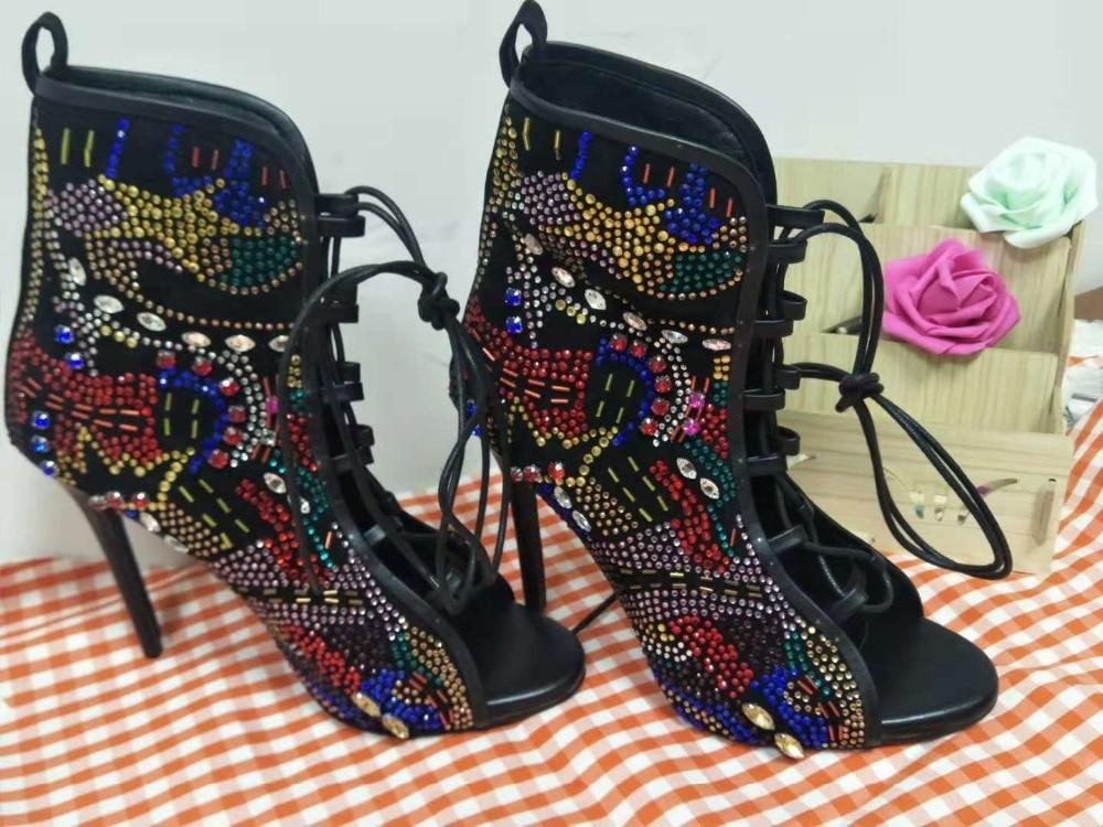 Glitter Croix attaché Sexy Été Femmes Partie Chaussures Aiguilles Picture Bling Bottines Hauts Talons Sandales Toe Spartiates Peep Dames As gpIgr1S