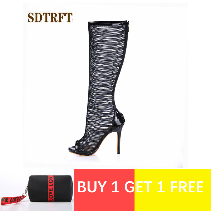 SDTRFT Stilettos Summer 12cm thin heels Knee-High Cool boots Open Toe shoes Woman Crossdresser Botas Ladies Zipper pumpsSDTRFT Stilettos Summer 12cm thin heels Knee-High Cool boots Open Toe shoes Woman Crossdresser Botas Ladies Zipper pumps