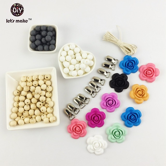 Silicone Wood Beads Pacifier Clip  DIY Silicone Teething bracelet  handmade silicone flower shaped necklace  baby teether set