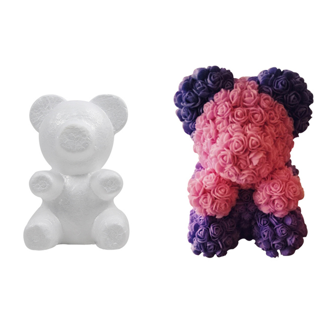 1pcs Rose Bear Foam Teddy Bear Mold DIY Valentines Day Gift Wedding Decoration Artificial Flowers Rose Bear Kids Birthday Decor 1