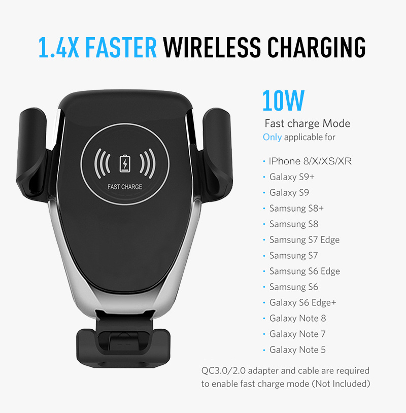 10W Wireless Charger For iPhone XS Max X XR 8 Plus Car Mount QI Fast Charging For Samsung S9 S8 S7 Car Phone Holder in Car